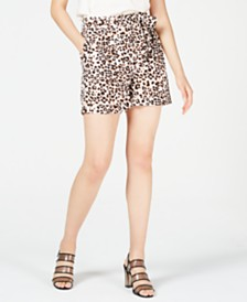 Bar III Leopard-Print Shorts, Created for Macy's