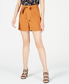 Bar III Crepe Belted Shorts, Created for Macy's