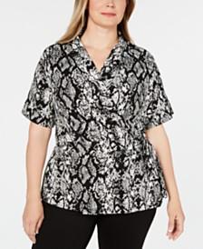 Calvin Klein Plus Size Snake Print Faux-Wrap Top