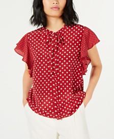 Marella Silk Polka-Dot Flounce-Sleeve Top