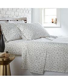 Southshore Fine Linens Geometric Maze 4 Piece Printed Sheet Set, Queen