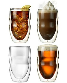 Serafino Artisan Series Double Wall 12 oz Iced Tea and Coffee Glasses - Set of 4