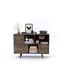 3 Cabinet Mid-Century Wood Sideboard with Shelves