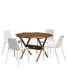 5 Piece Patio Dining Set Octogonal