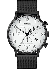 Timex Waterbury Classic Chronograph 40mm Stainless Steel Black Mesh Band Watch