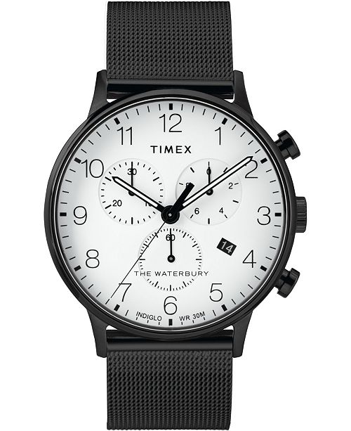 Timex Boutique Timex Waterbury Classic Chronograph 40mm Stainless Steel Black Mesh Band Watch