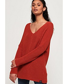 Cora Ribbed Vee Jumper