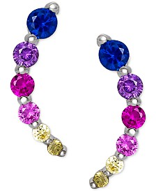 Giani Bernini Cubic Zirconia Rainbow Ear Climbers in Sterling Silver, Created for Macy's