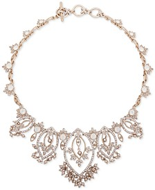 "Marchesa Gold-Tone Crystal, Stone & Imitation Pearl Statement Necklace, 16"" + 3"" extender"