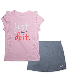 Nike Toddler Girls 2-Pc. Just Do It Ruffled Logo T-Shirt & Scooter Skirt