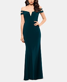 XSCAPE Cold-Shoulder Gown