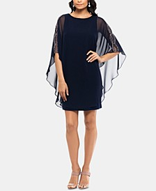 Petite Chiffon-Overlay Shift Dress