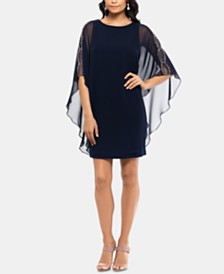 XSCAPE Petite Chiffon-Overlay Shift Dress