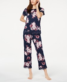 Charter Club Floral-Print Knit Pajamas Set, Created for Macy's