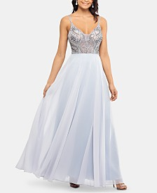 XSCAPE Beaded-Bodice Gown