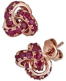 Certified Ruby Love Knot Stud Earrings (4 ct. t.w.) in 14k Rose Gold