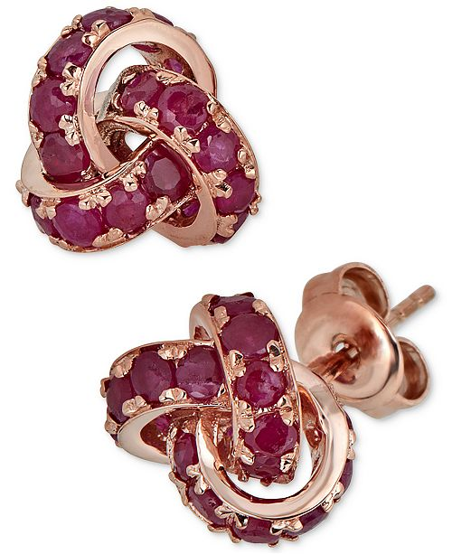 Macy's Certified Ruby Love Knot Stud Earrings (4 ct. t.w.) in 14k Rose Gold
