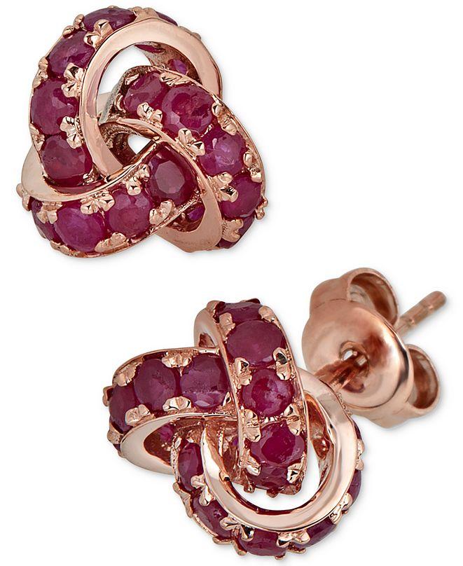 Macy's Certified Ruby Love Knot Stud Earrings (4 ct. t.w.) in 14k Rose Gold