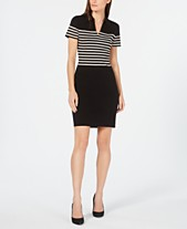 eaaaba8b806 Anne Klein Striped Point-Collar Sweater Dress