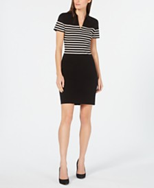 Anne Klein Striped Point-Collar Sweater Dress