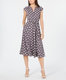 Anne Klein Printed Cap-Sleeve Drawstring A-Line Dress