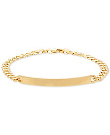 Curb Chain ID Bracelet in 14k Gold
