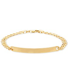 Italian Gold Curb Chain ID Bracelet in 14k Gold