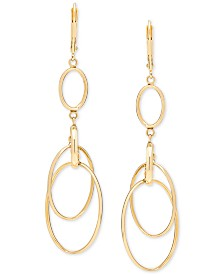 Italian Gold Circular Drop Earrings in 14k Gold
