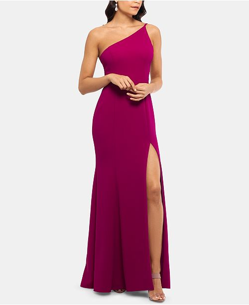 XSCAPE One-Shoulder Crepe Gown