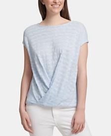 DKNY Twist-Front Short-Sleeve Top