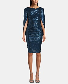 Betsy & Adam Sequinned Draped-Back Sheath Dress
