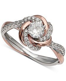 Cubic Zirconia Love Knot Ring in 18k Rose Gold Over Sterling Silver and Sterling Silver, Created for Macy's
