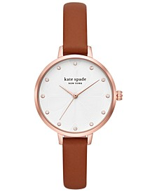 Women's Metro Brown Leather Strap Watch 34mm