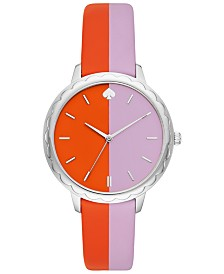 kate spade new york Women's Morningside Orange & Purple Leather Strap Watch 38mm