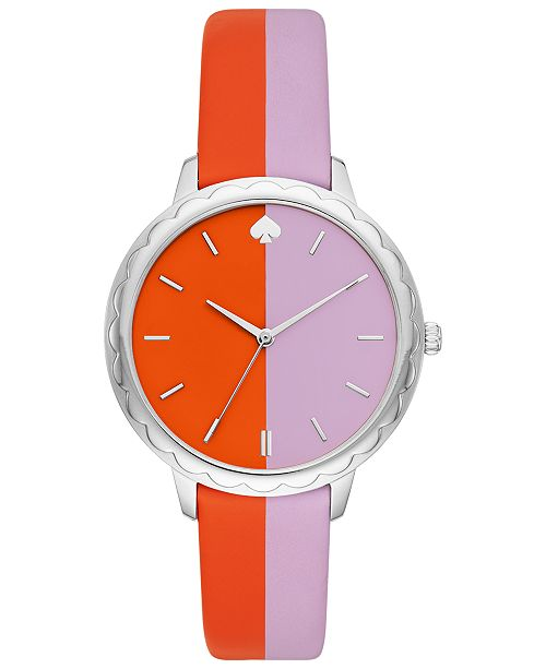 kate spade new york Women's Morningside Orange & Purple Leather Strap Watch 38mm
