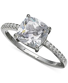 Cubic Zirconia Cushion-Cut Ring in Sterling Silver, Created for Macy's