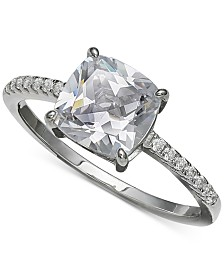 Giani Bernini Cubic Zirconia Cushion-Cut Ring in Sterling Silver, Created for Macy's