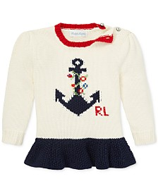Polo Ralph Lauren Baby Girls Graphic Cotton Sweater