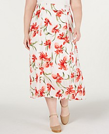 Plus Size Floral-Print A-Line Skirt, Created for Macy's