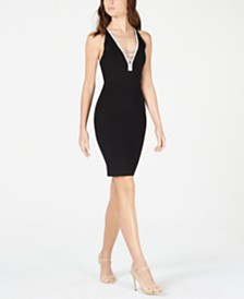 Marciano Plunging Embellished Bodycon Dress