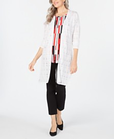 JM Collection Petite Open-Front Crochet Duster, Created for Macy's