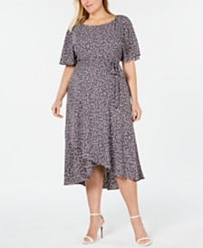Anne Klein Plus Size Polka Dot Midi Dress