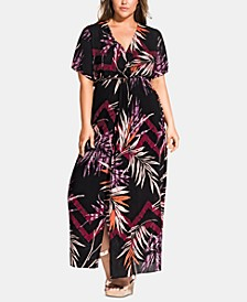 Trendy Plus Size Printed Short-Sleeve Maxi Dress
