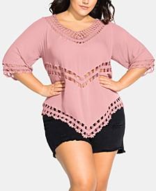 Trendy Plus Size Crochet-Trim Point-Hem Top