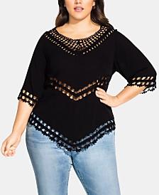 City Chic Trendy Plus Size Crochet-Trim Point-Hem Top