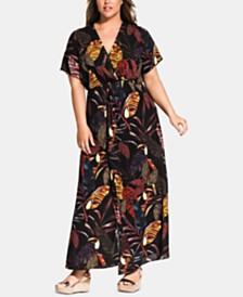City Chic Trendy Plus Size Canopy Surplice Maxi Dress