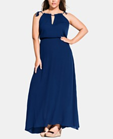 City Chic Trendy Plus Size Tassel Keyhole Maxi Dress