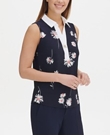 Tommy Hilfiger Floral-Print Toggle-Button Top, Created for Macy's
