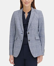 Tommy Hilfiger Printed Flap-Pocket Blazer, Created for Macy's