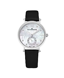 Alexander Watch A201-01, Ladies Quartz Small-Second Watch with Stainless Steel Case on Black Satin Strap